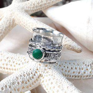 925 Sterling Silver & Malachite Spinner Ring 9